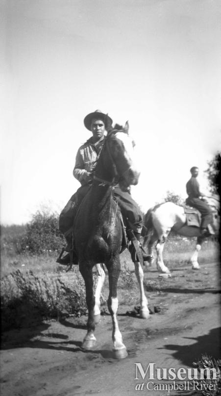 Sam Quatell on horseback
