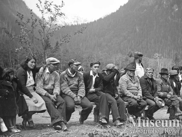 Gathering at Tsawatainuk village of Gwa'yi in Kingcome Inlet