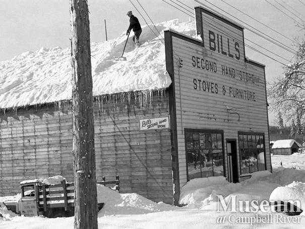 Bill's Second Hand Store after a heavy snowfall