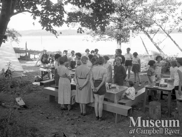 Girl guides at camp on Hudson's Farm