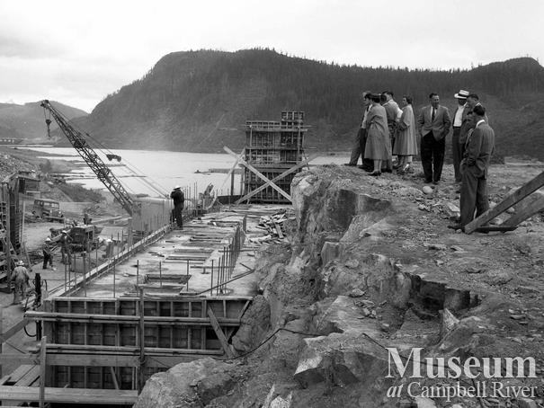 Construction of the Ladore Dam project, Campbell River