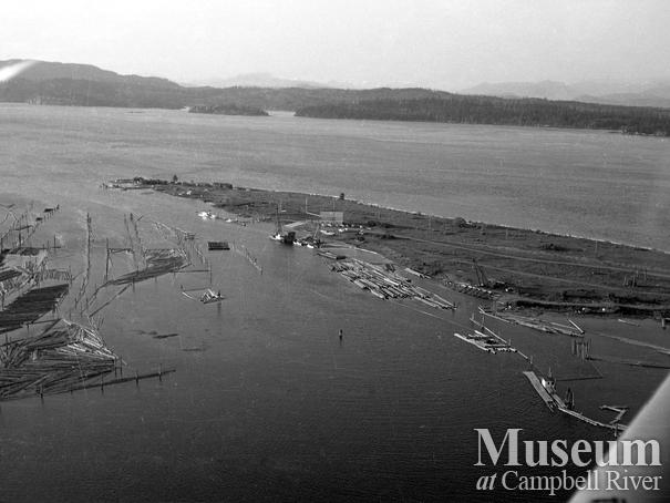 Aerial view of the tyee spit, Campbell River
