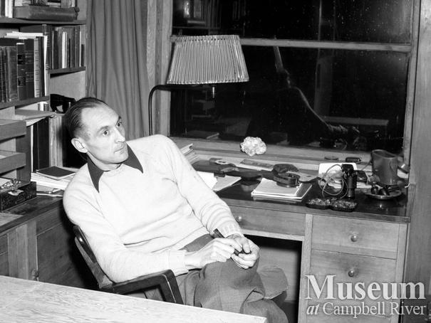 Roderick Haig-Brown in his study, Haig-Brown House