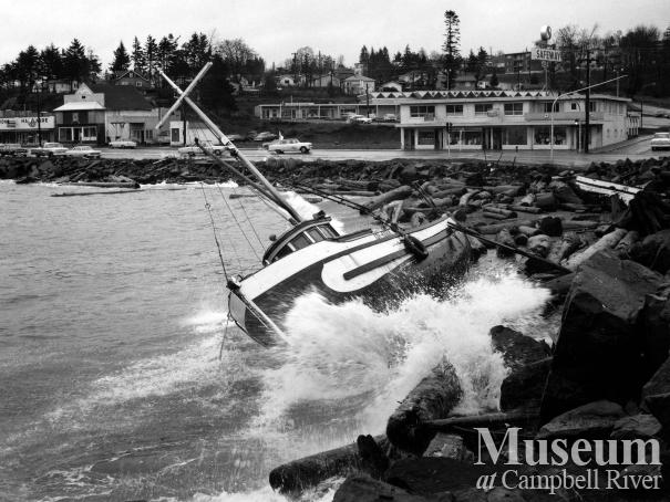 View of Campbell River waterfront, 1964
