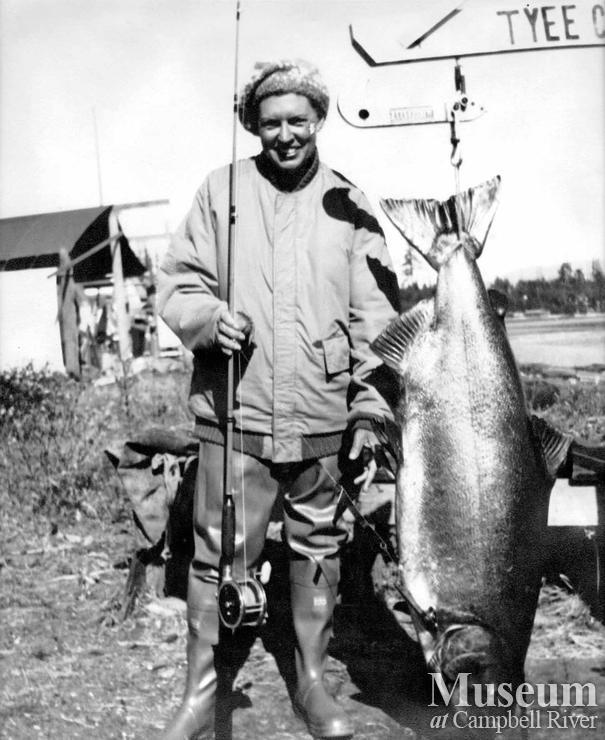 Hilda Parker Kuett, Tyee Man, with her catch