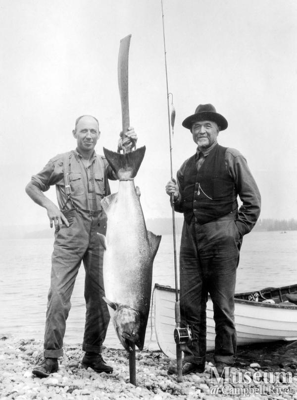Herbert Pidcock with guest and salmon