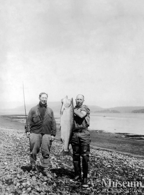 Herbert Pidcock and Dr. Wiborn with a salmon
