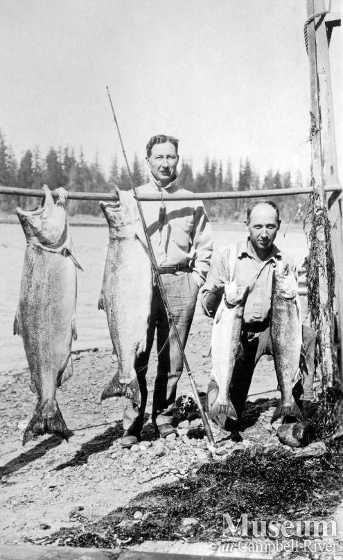 Herbert Pidcock and Dr. Wiborn with salmon