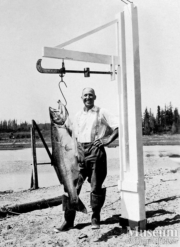 Herbert Pidcock with catch of salmon