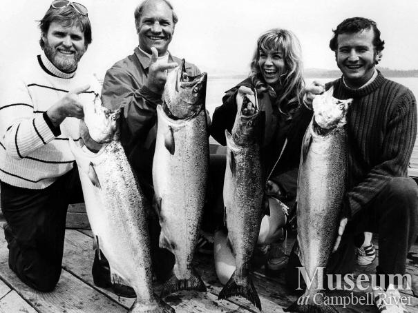 Fishermen with catch of salmon, May 1972