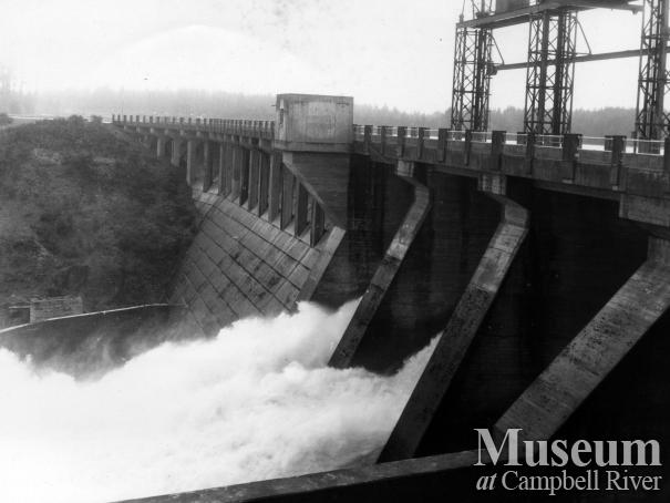John Hart dam and spillway, January 1968