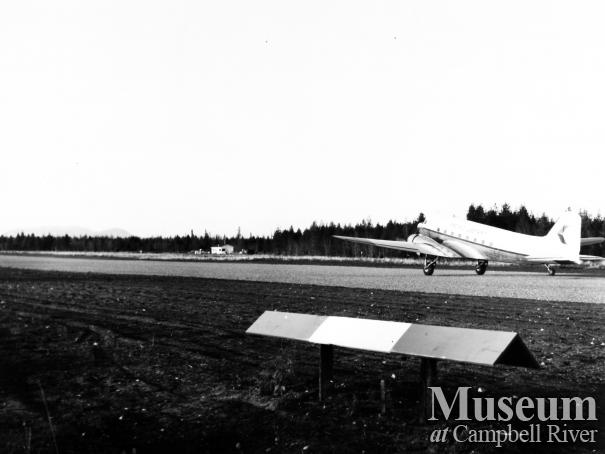 PWA airplane on runway at the Campbell River Airport