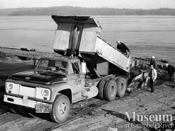 Construction of the boat ramp on the Tyee Spit