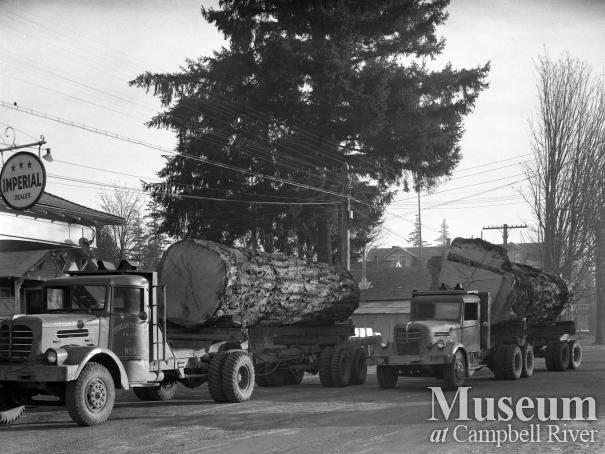 Quinsam Trucking vehicles in front of Imperial Fuel, Campbellton
