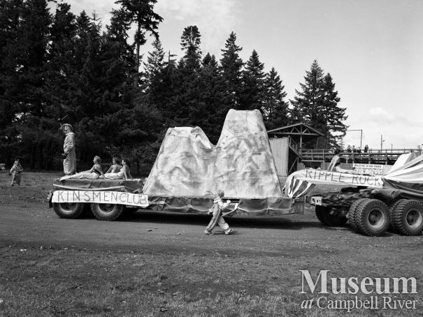 Kinsmen Club float depicting Ripple Rock in parade, Campbell River