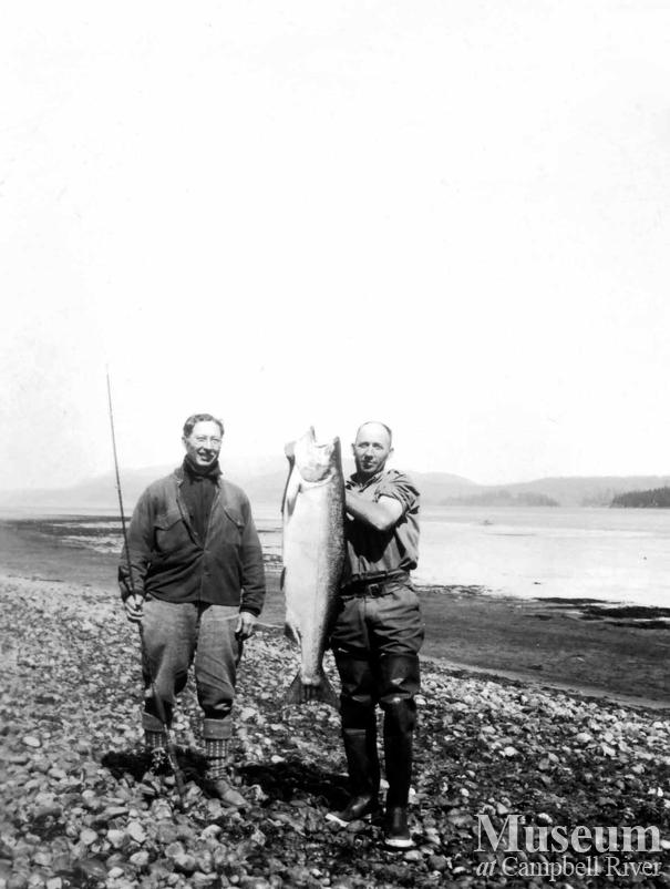 Dr. J.A. Wiborn with Herbert Pidcock and salmon