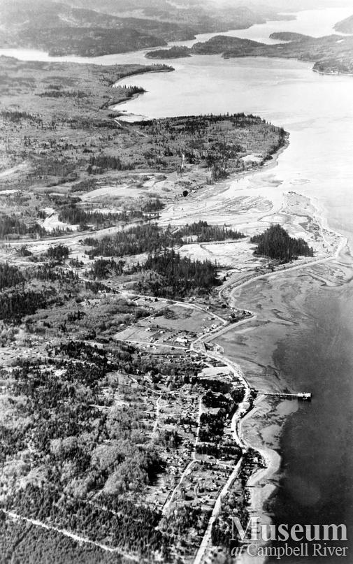 Aerial view of Campbell River and surrounding area