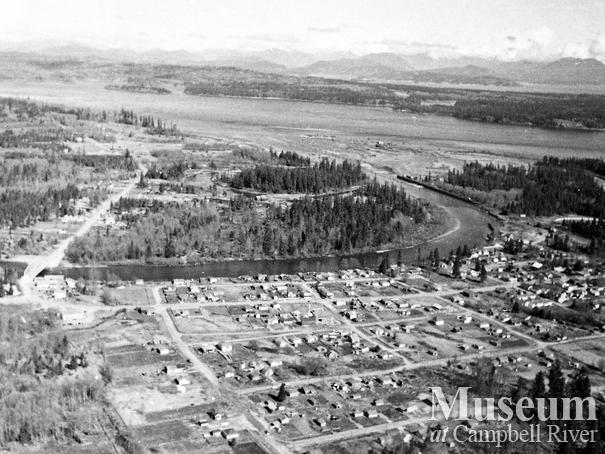 Aerial view of Campbellton, showing the Tyee Spit