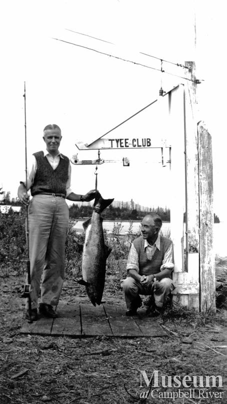 Cougar Smith and two guests at Tyee Club scales