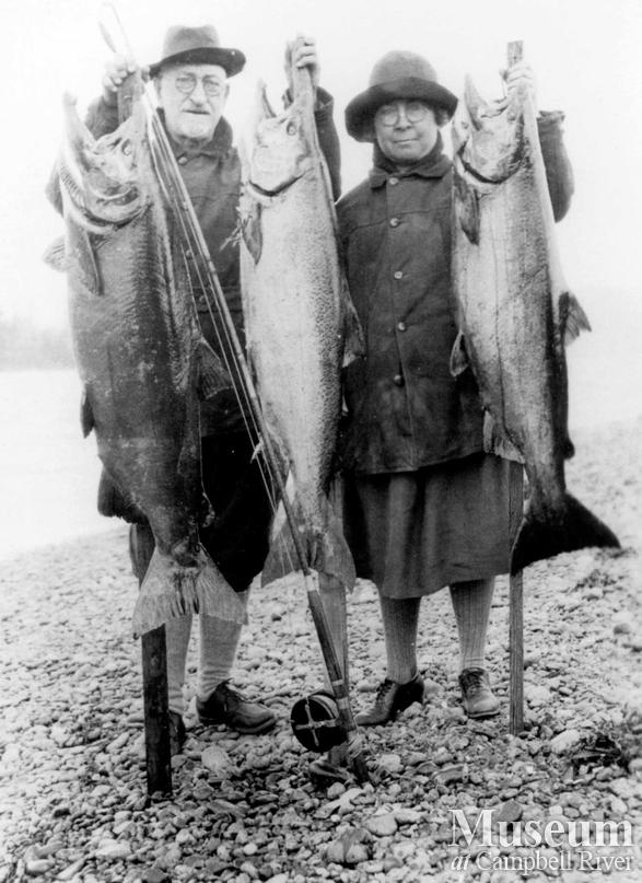 One male and one female angler with three fish