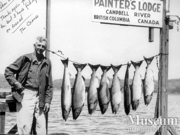 Les McDonald with eight fish caught by the Cranes