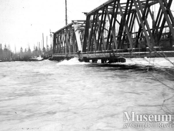 Bridge over the Campbell River during flood, 1934