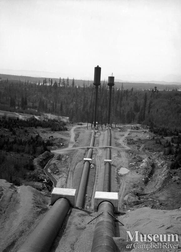 View of the penstocks leading to the John Hart Generating Station