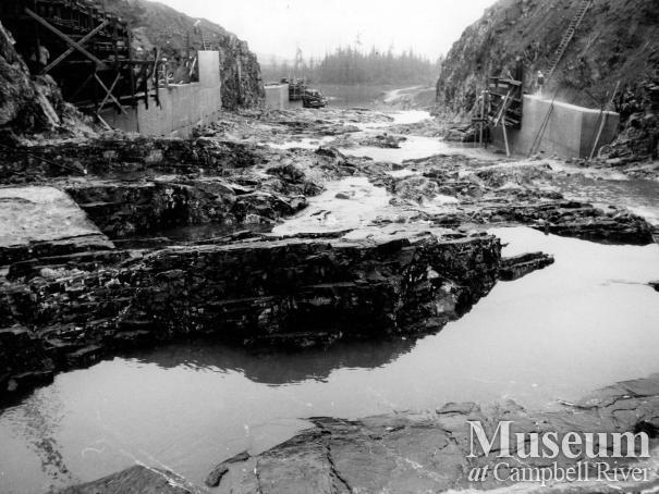 Construction of Strathcona Dam, 1950s