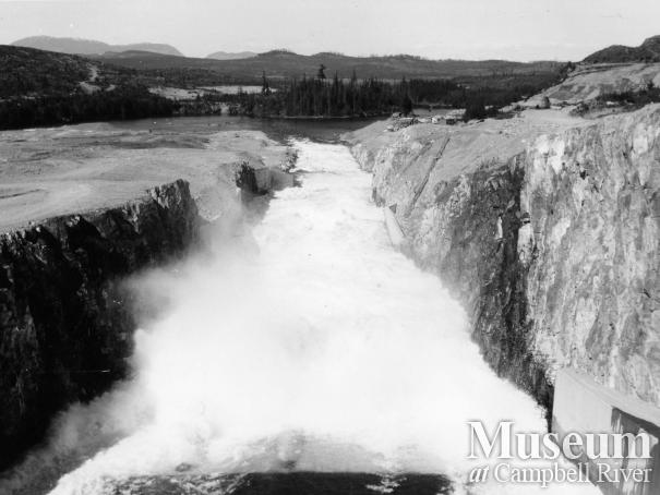 Construction of Strathcona Dam, 1950s