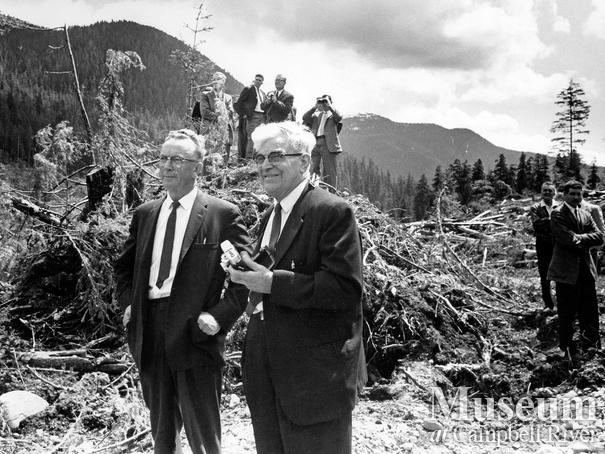 Wallace Baikie and Carl Thulin survey logging operation