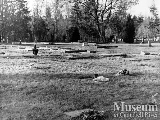 View of the Campbell River Cemetery, Feb. 21, 1968