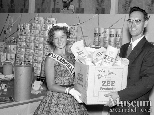 Miss Campbell River presents a Crown Zellerbach display