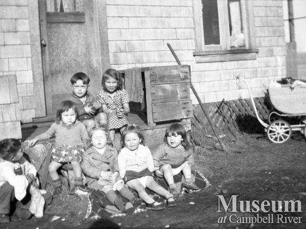 Children at the Henderson family home