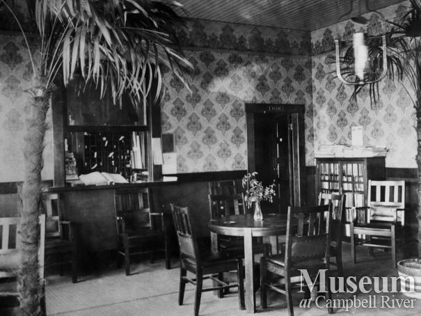 Lobby of the third Willows Hotel, Campbell River