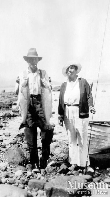 Herbert Pidcock with unidentified woman and fish