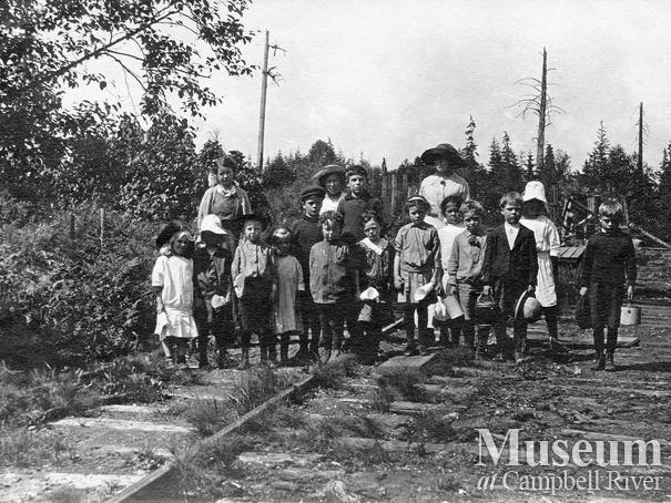 School picnic near the railroad tracks