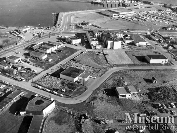Aerial view of downtown Campbell River, 1968
